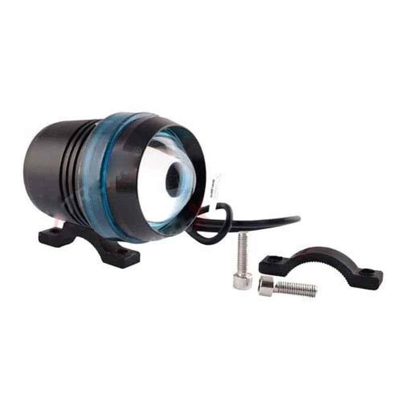 AllExtreme EXBU3F1 U3 Black Projector Lamp with Blue Ring Universal Fog Light
