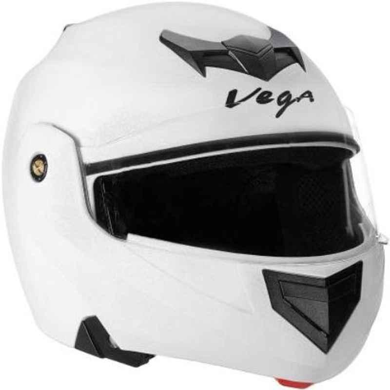 Vega Crux White Flip-Up Motorbike Helmet, Size (S, 560 mm)