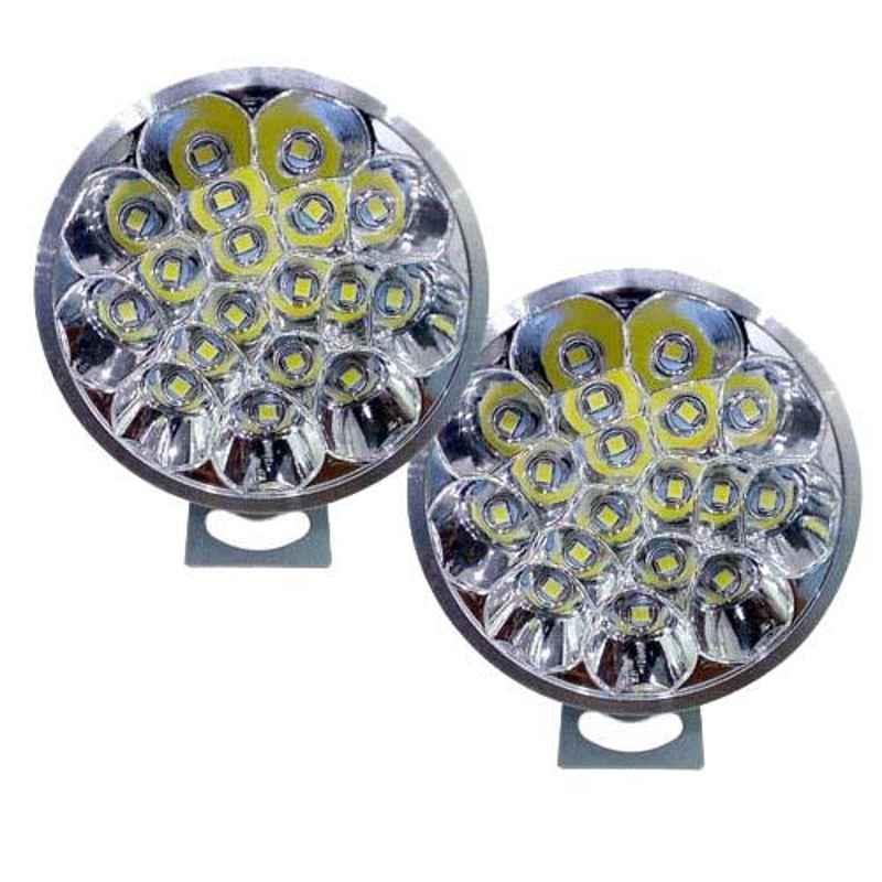 AllExtreme EX18RF2 2 Pcs 18 LED 27W White Round Waterproof Fog Light Set