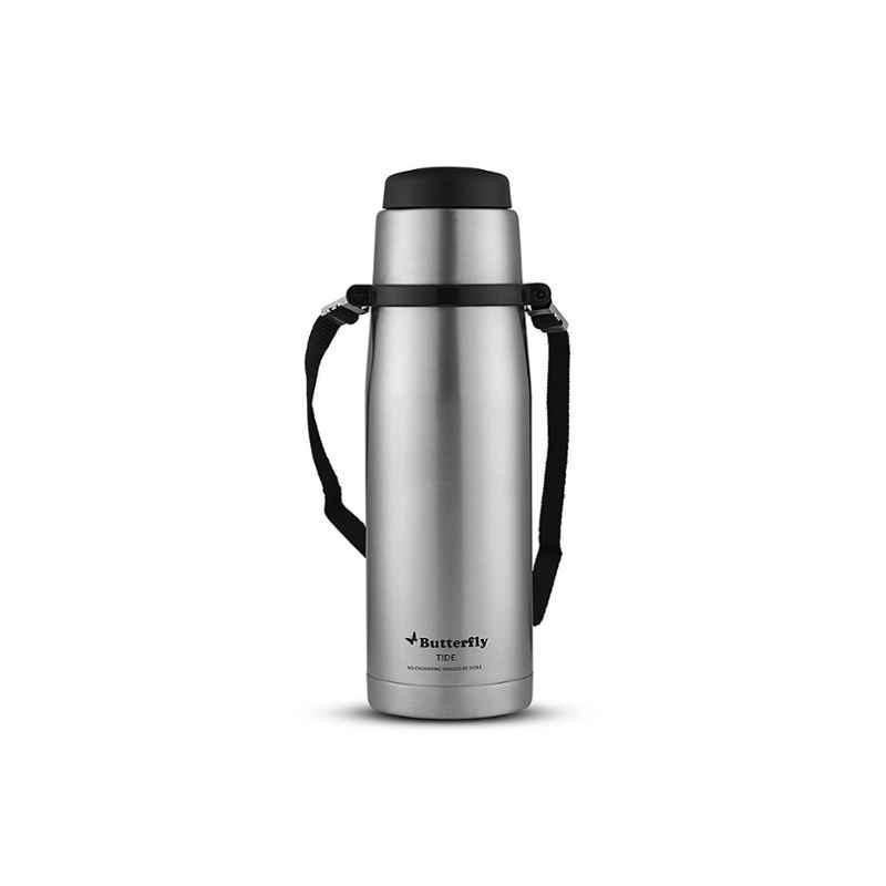 Butterfly Tide 1000ml Silver & Black Stainless Steel Flask