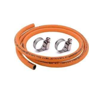 Fogger Suraksha 150cm Steel Wire Reinforced LPG Rubber Hose Pipe with 2 Clamp, HOSE-PIPE+2Clamp_2, Orange