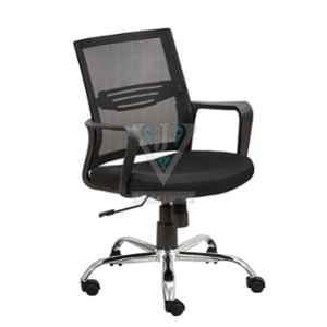 VJ Interior 18.5x19 inch Black Mid Back Mesh Fabric Office Visitor Chair, VJ-1422