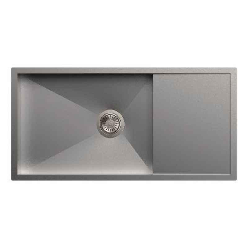 Carysil Quadro Single Bowl Stainless Steel Matt Finish Kitchen Sink with Drainer, Size: 36x18x9 inch