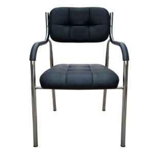 Steelcraft VCHB03 Black Leatherette Cushioned Seat Visitor Chair