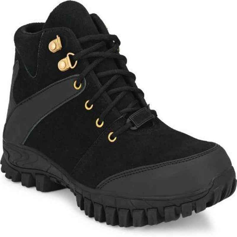 Wonker 6360 Synthetic Leather Steel Toe High Ankle Black Safety Shoes, Size: 9