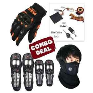 Love4ride Bike Anti Theft Security Lock Alarm, Neoprene Mask, Probiker Elbow Knee Guard & Ktm Bike Gloves Combo for Biker