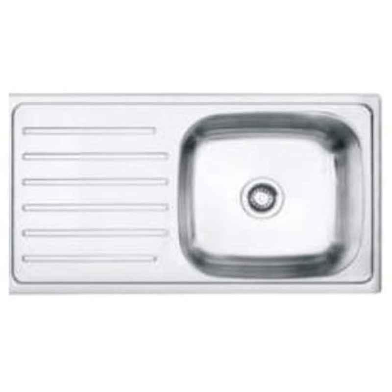 Crocodile 37x18x8 inch Single Bowl Stainless Steel Kitchen Sink with Drainboard