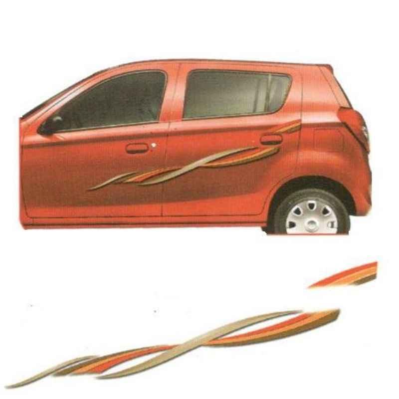 Galio Gold & Orange Graphics Car Sticker Set for Maruti Suzuki Alto 800, GL-202G