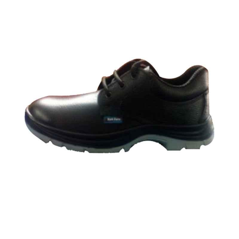 Zain Black Steel Toe PU Double Density Synthetic Leather Safety Shoes, Size: 9