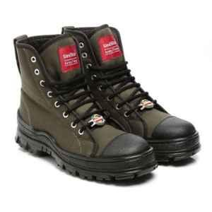 Unistar Leather PU Sole Olive Green Safety Boots, 7100_Olivegreen, Size: 6