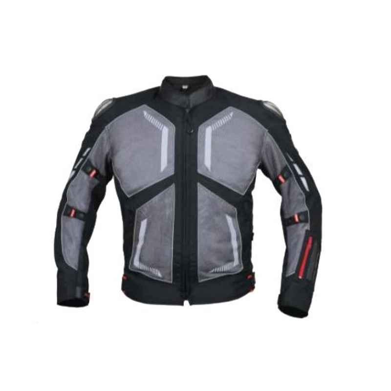 Biking Brotherhood Grey Stylish Leather Collar with Soft Neoprene Inner Spiti Jacket, Size: 2XL