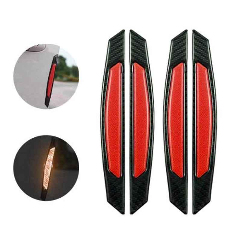 AllExtreme EXCDP1R 4 Pcs Warning Reflector Night Door Protector Anti-Scratch Strip Decal Sticker Set