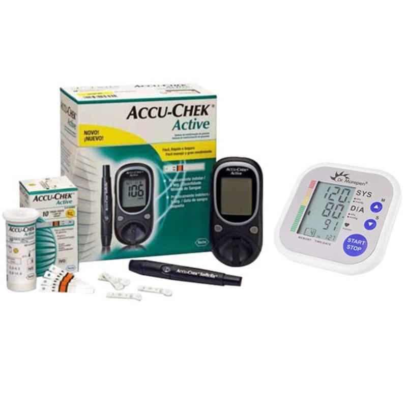 Dr. Morepen BP-02 Blood Pressure Monitor & Accu-Chek Active Glucose Monitor with 10 Free Strips