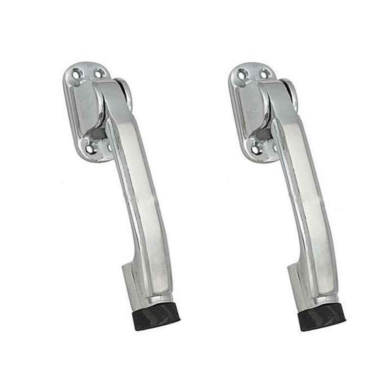 Smart Shophar 5 inch Brass Nickel Silver Meldal Door Stopper, SHA10ST-MELD-NS05-P2 (Pack of 2)