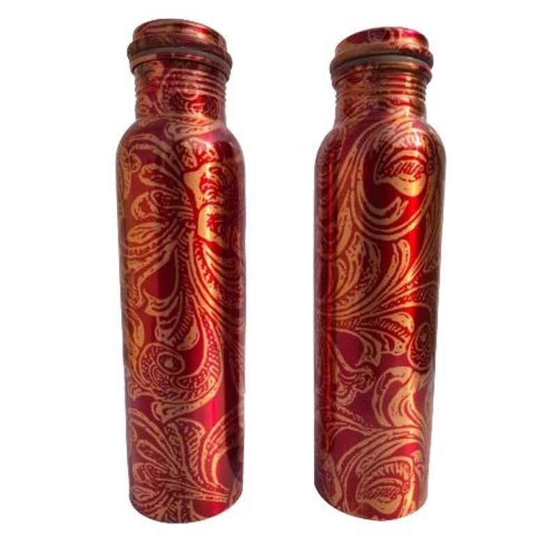 Healthchoice 1000ml Copper Red Leaf Design Printed Water Bottle (Pack of 2)
