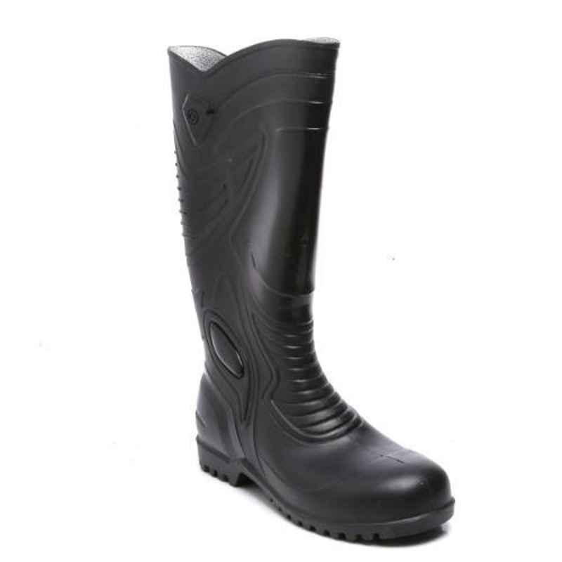 Agarson Supreme Steel Toe High Ankle Black Gum Boots, Size: 9
