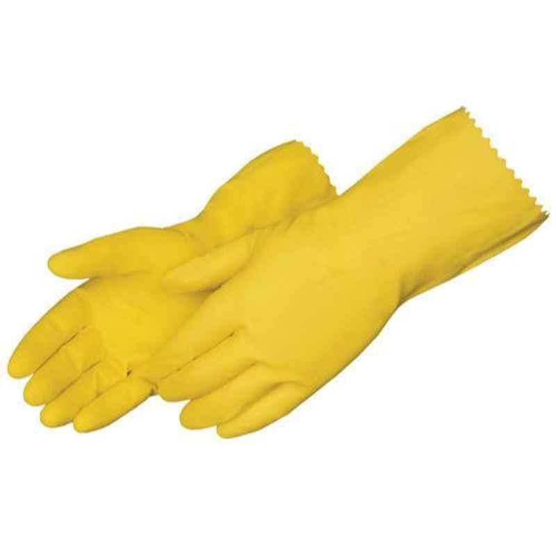 Surf Latex Rubber 621U-38 Hand Gloves, Yellow (Pack of 5)
