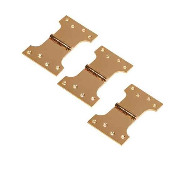 Smart Shophar 5x4x3 inch Brass Gold Parliament Hinge, SHA10HG-PARL-GL5X4X3-P3 (Pack of 3)