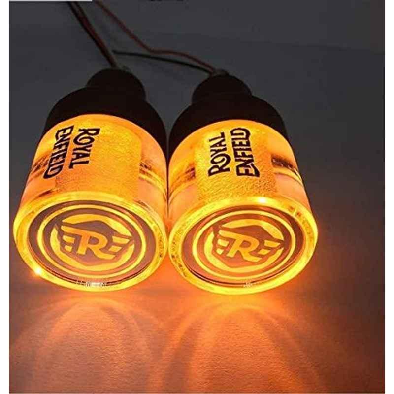 AOW Handle Bar End Dual Led Crystal Side Indicator Lights for Royal Enfield Models (Orange) K-6.14(Set of 2)