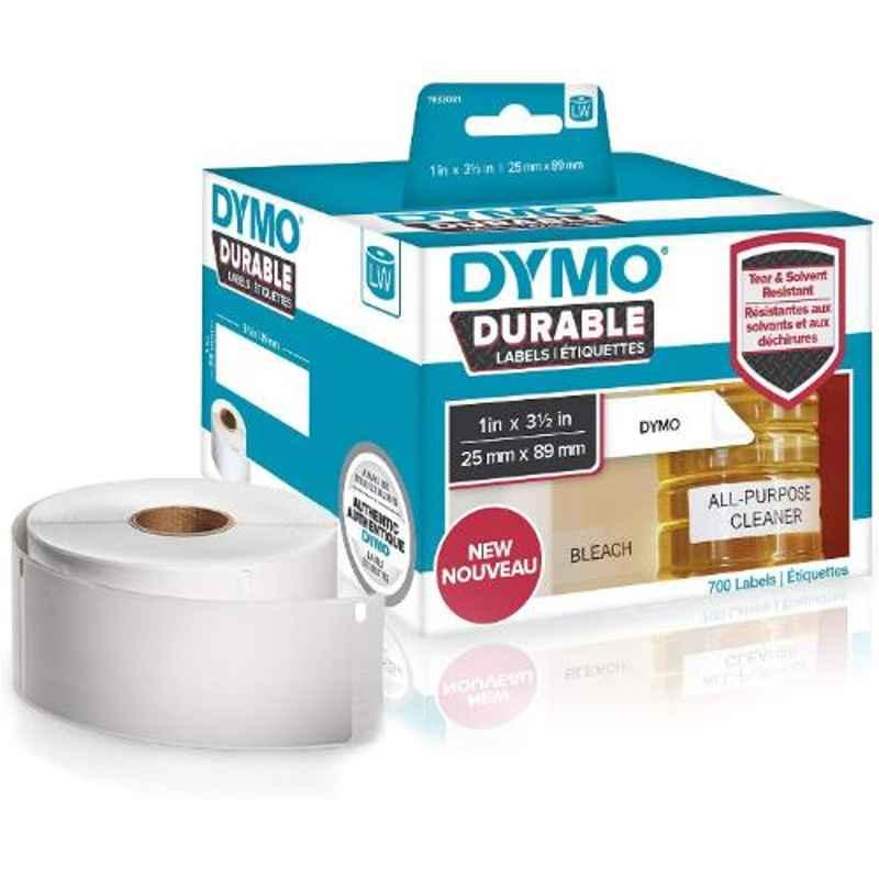 Dymo 1933081 1x3.5 inch White Polypropylene Direct Thermal Label Writer Roll, Capacity: 350 Labels