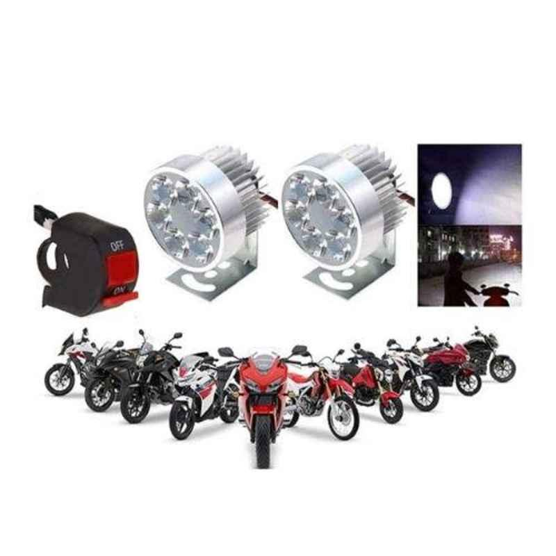 A4S 2 Pcs Silver 6 LED Fog Light Set with Switch Universal for All Bikes