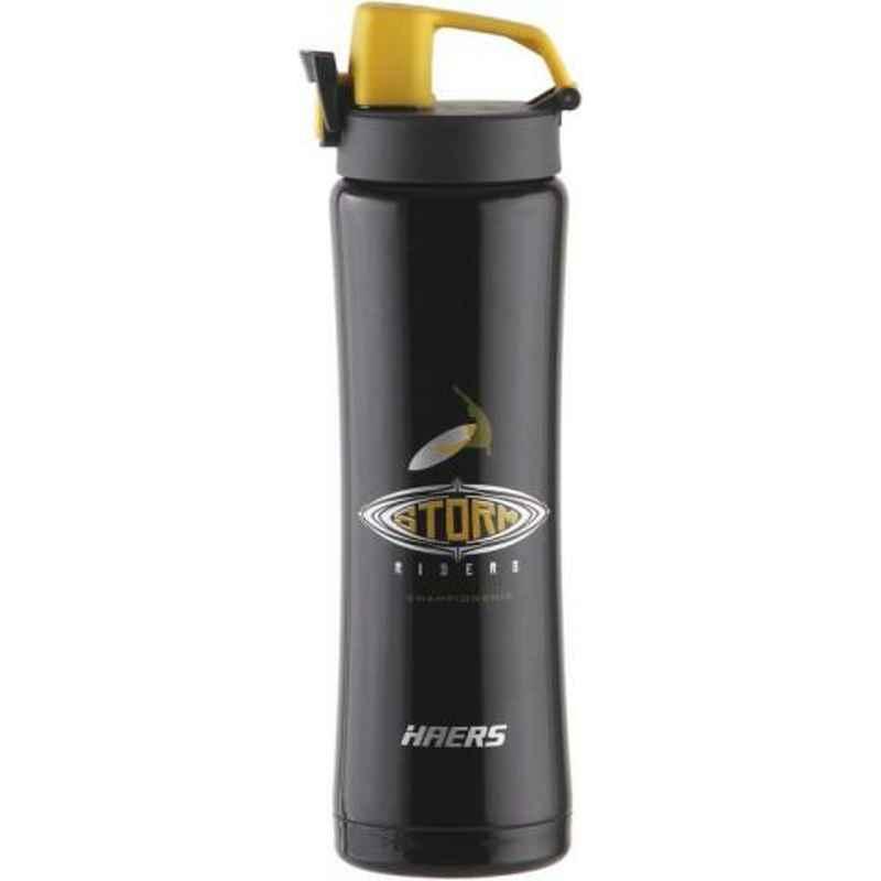 Haers 550ml Stainless Steel Black Vacuum Sports Bottle, HD-550-8-BLK