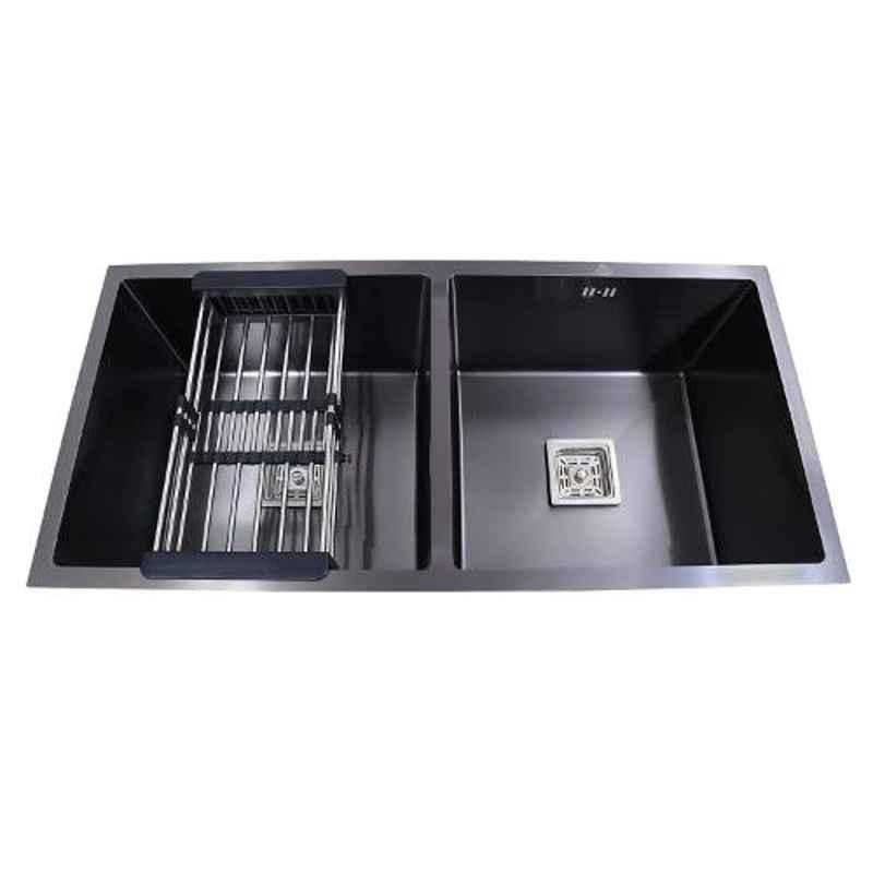 Crocodile 37x18x10 inch Stainless Steel Satin Finish Black Double Bowl Kitchen Sink