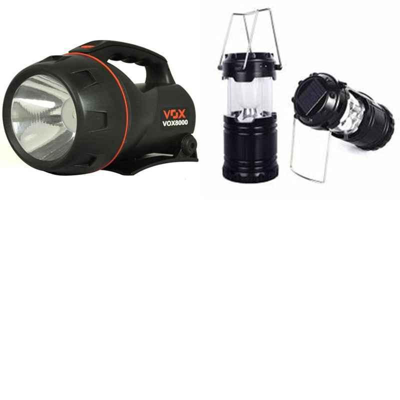 Combo of Homepro LED Solar Emergency Lantern with VOX VOX8000 5W Flashlight Torch