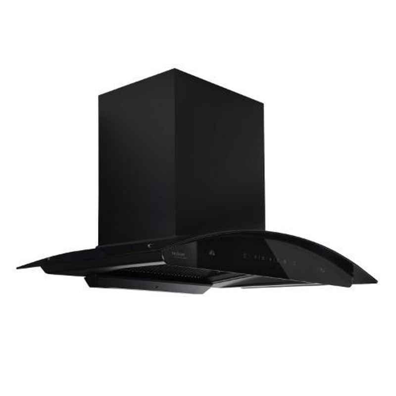 Hindware Nadia BLK Auto Clean 90 Black Filterless Kitchen Chimney with Motion Sensor, 517252, Size: 90 cm