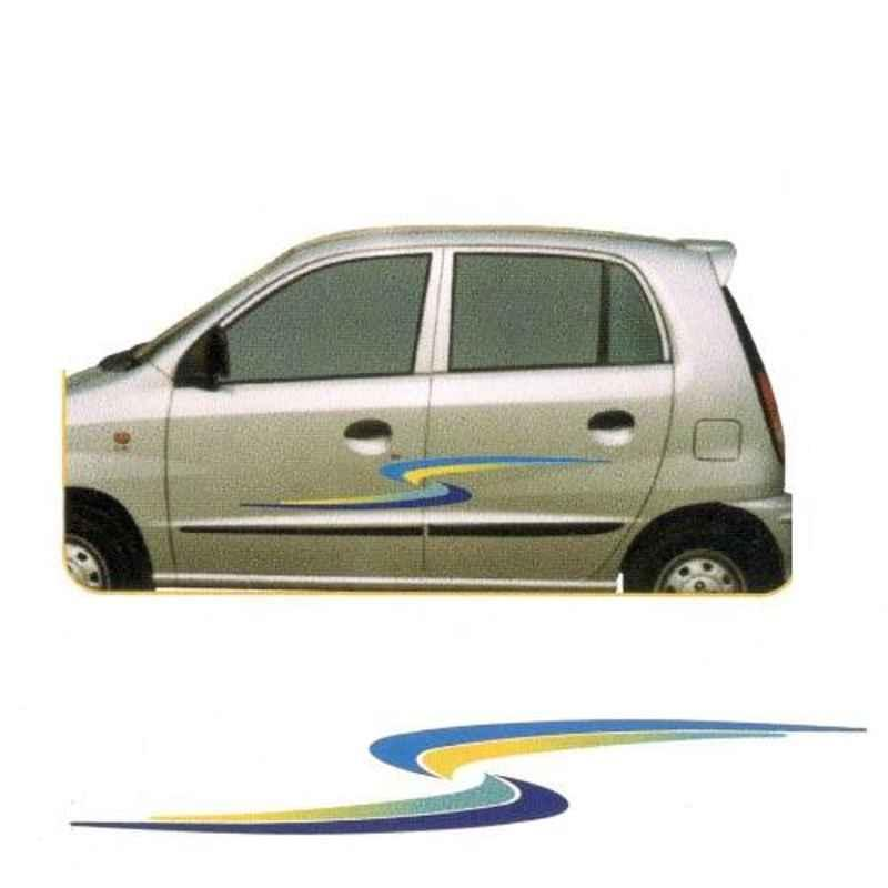 Galio Blue & Yellow Graphics Car Sticker Set for All Cars, GLS-107B