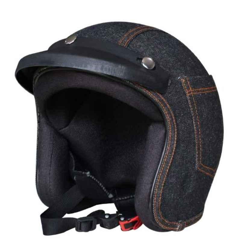 Habsolite HB-DH001 Denim Black Open Face Helmet with Detachable Cap & Adjustable Strap, Size: M