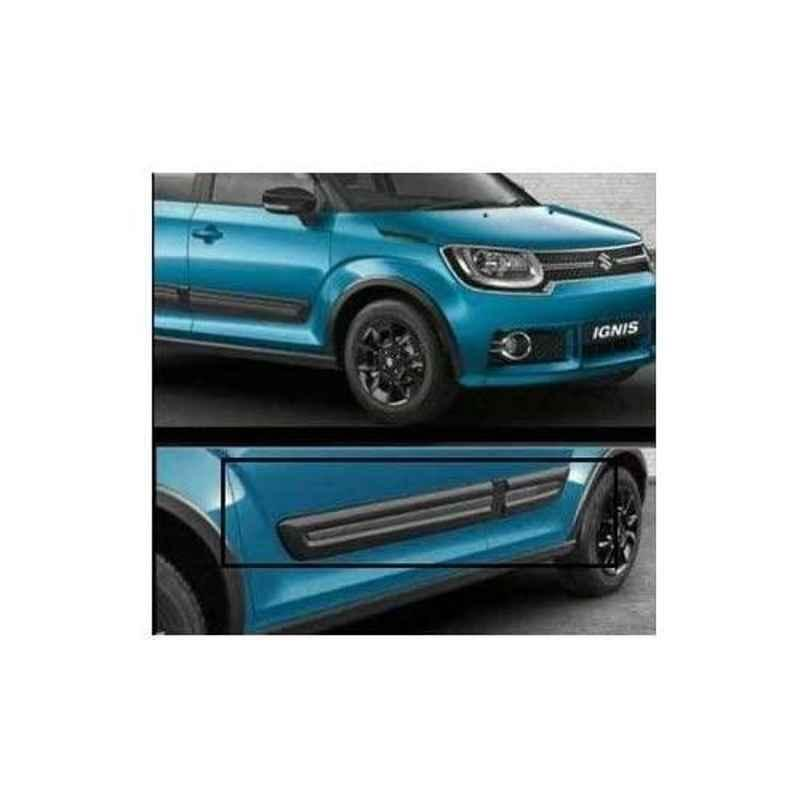 Autoxygen 4 Pcs Premium Quality Side Door Beading Black Door Protector for Maruti Suzuki Ignis