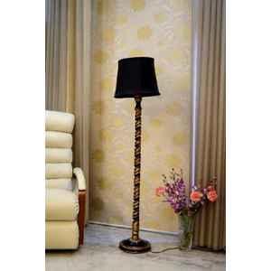 Tucasa Mango Wood Black & Gold Floor Lamp with Black Cylindrical Polycotton Shade, WF-74