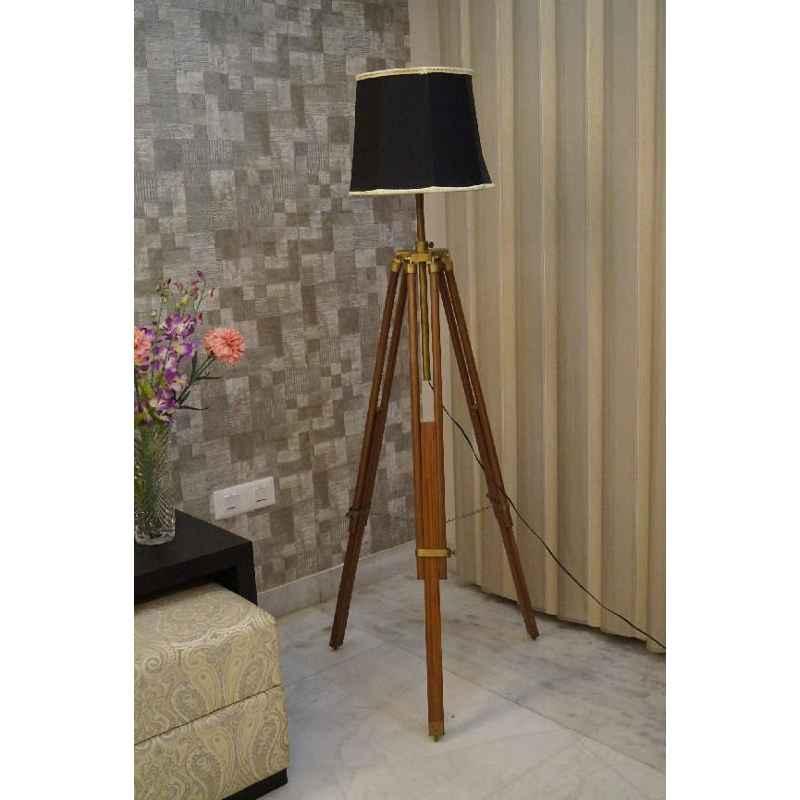 Tucasa Mango Wood Brown Tripod Floor Lamp with Polycotton Black Shade, P-80