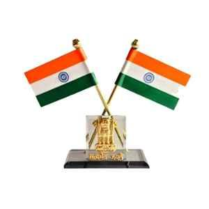 Love4ride Indian Flag with Satyamev Jayate Symbol for Car Dashboard