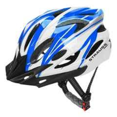 Strauss 54-62cm White & Blue PVC Cycling Helmet, ST-1307