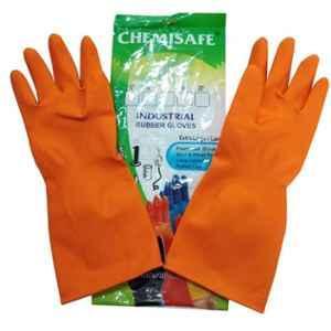 Chemisafe Orange Rubber Industrial Gloves (Pack of 12)
