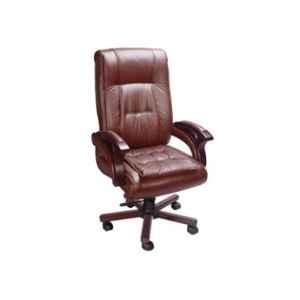 Master Labs Leatherite Brown Central Tilt Revolving Chair with Fixed Arm, MLF-168