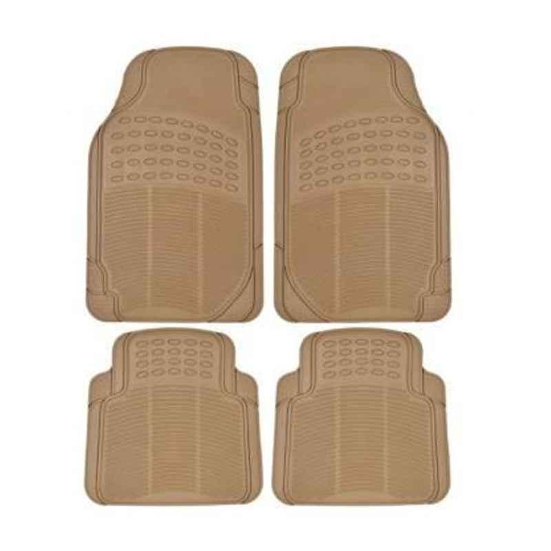 Love4ride 4 Pcs Beige Rubber Car Floor Mat Set for Toyota Etios Liva