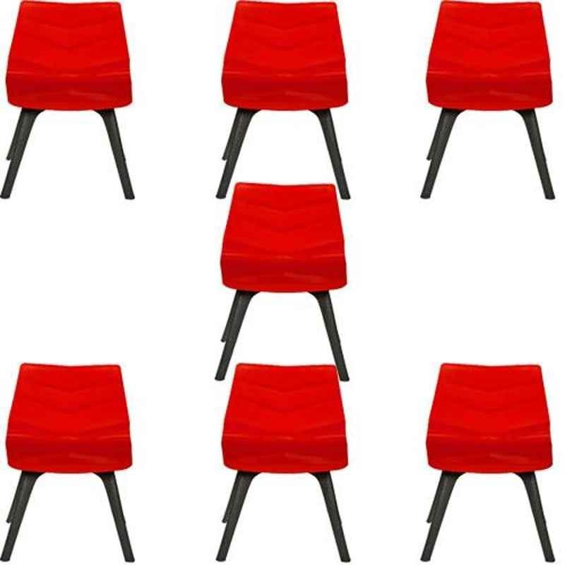 Regent Diamond Shell Plastic Black & Red Chair (Pack of 7)