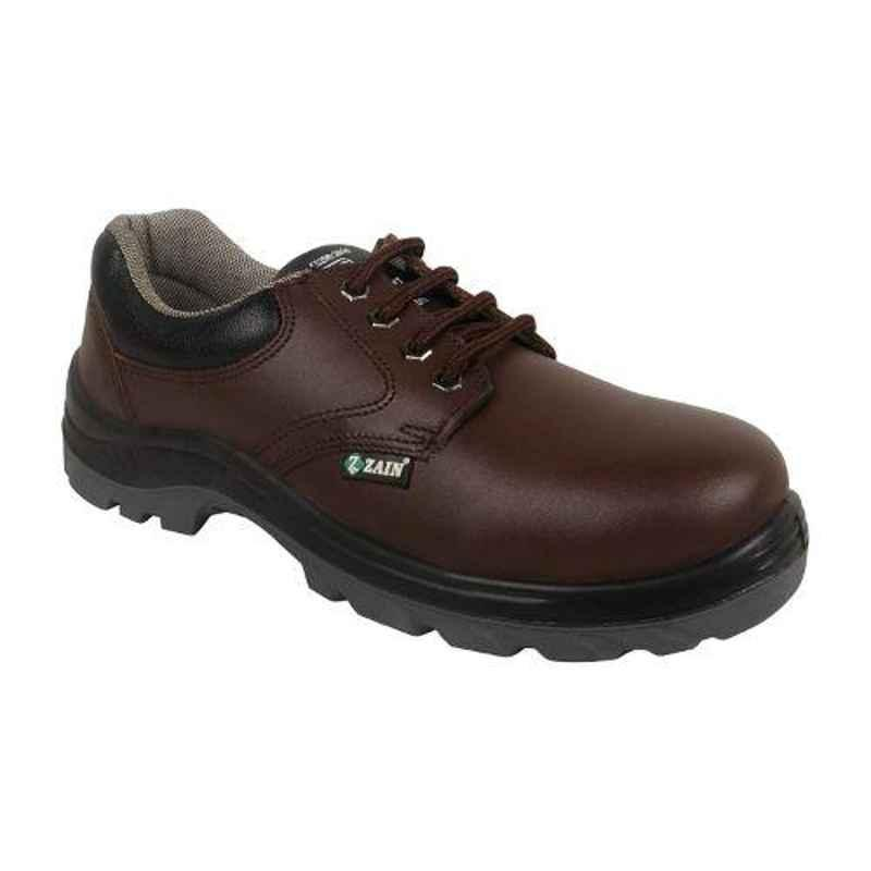 Zain Zm-05 Leather Steel Toe Brown Safety Shoes, 82236-08, Size: 9