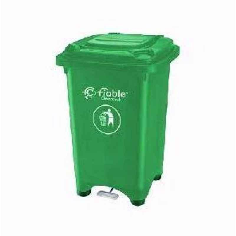 Fiable 50L HDPE Green Center Foot Pedal Dustbin with Lid, FDB 50 CP (Pack of 2)