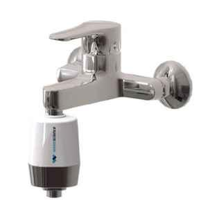 Water Science Cleo 1/2 inch 4 Layer Pearl White Matte Silver Finish Shower & Tap Filter for Hard Borewell Water, SFU-717