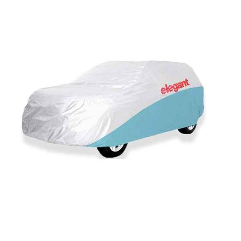 Elegant White & Blue Water Resistant Car Body Cover for Hyundai I10