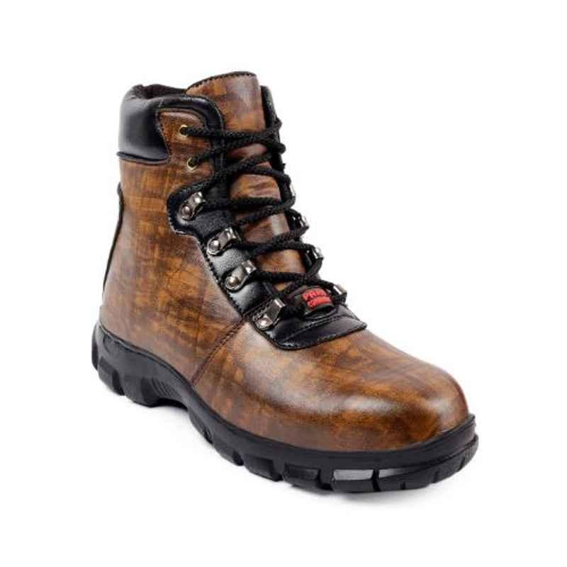 Woakers Synthetic Leather Steel Toe Airmix Sole Brown Safety Boots, Size: 9