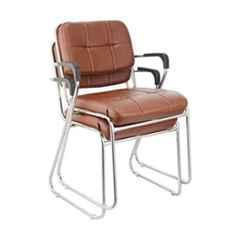 Da Urban Homy Brown Fabric & Foam Medium Back Study Chair with Arms (Pack of 2)