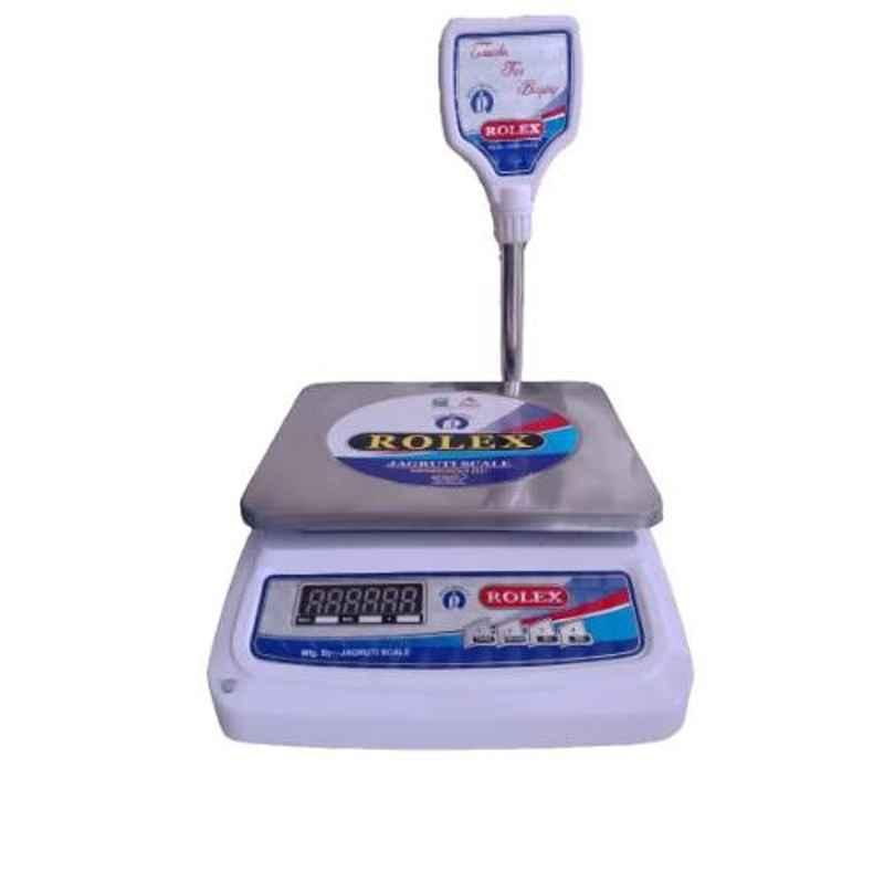 Rolex 30kg 30x35x25cm Stainless Steel White Table Top Weighing Scale with Poll Display