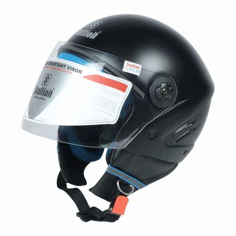 Stallion BLK K10 Open Face Matte Black Motorbike Helmet, Size: M