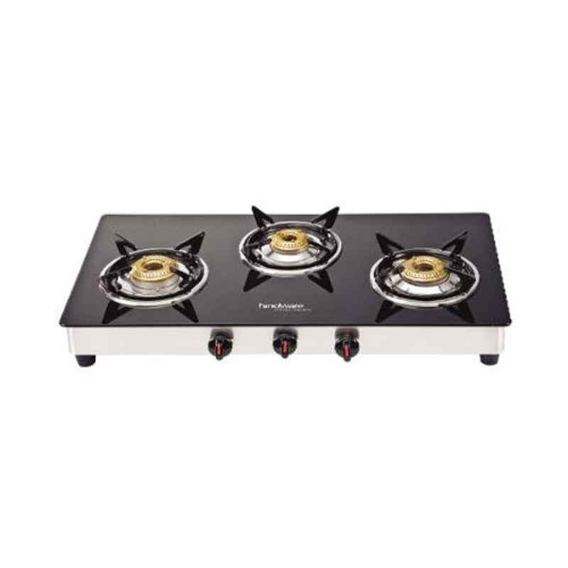 Hindware Neo Gl 3B 3 Burners Auto Ignition Black Toughened Glass Cooktop, 511889