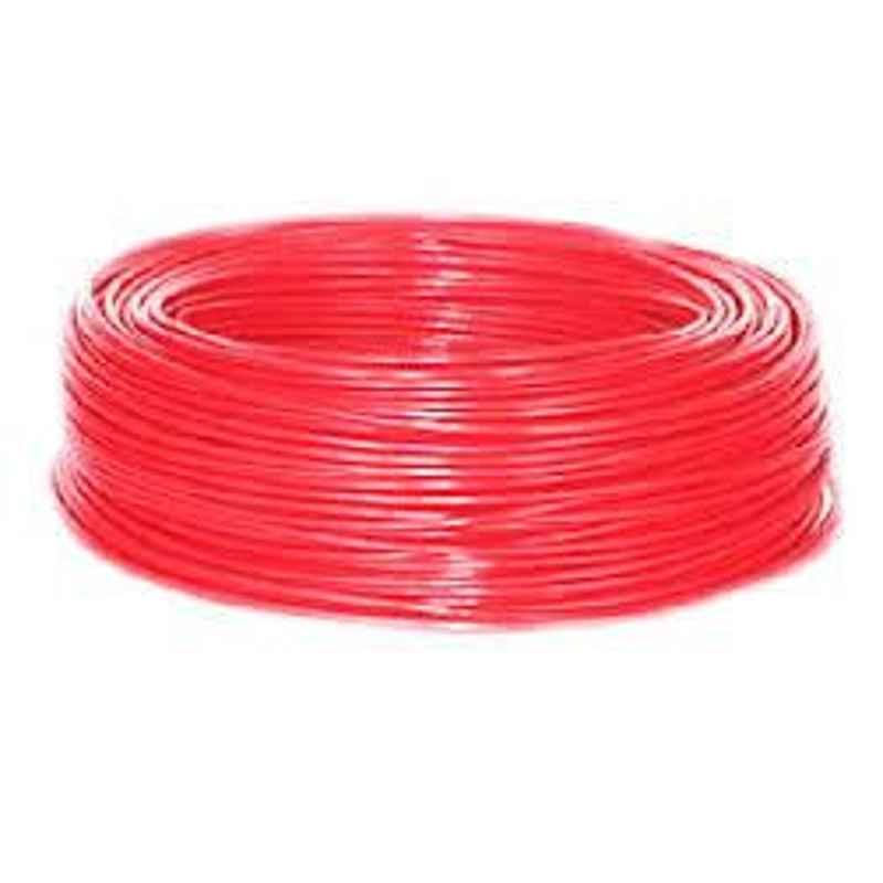 KEI 4 Sqmm Single Core FR Red Copper Unsheathed Flexible Cable, Length: 100 m